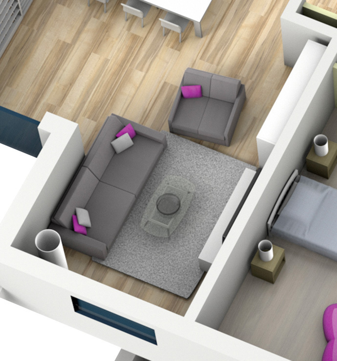 Private rooms: living area